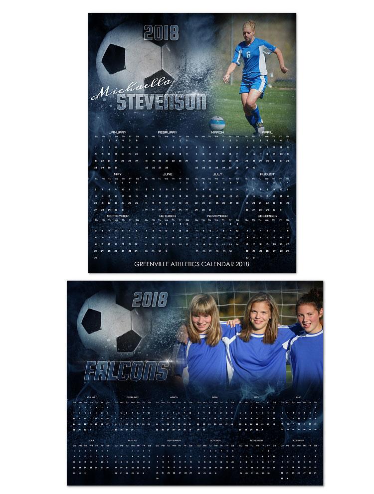 2018 Soccer Calendar 1499 Arc4studio Photoshop Templates For