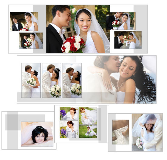 Classic white landscape wedding album photoshop wedding for Wedding photo album templates in photoshop