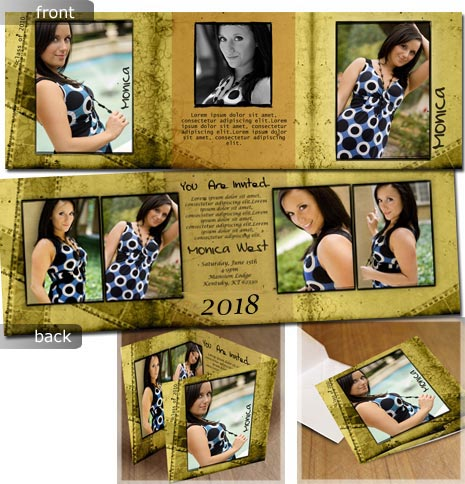 seniors portraits photoshop templates - Tri Fold Graduation Invitations